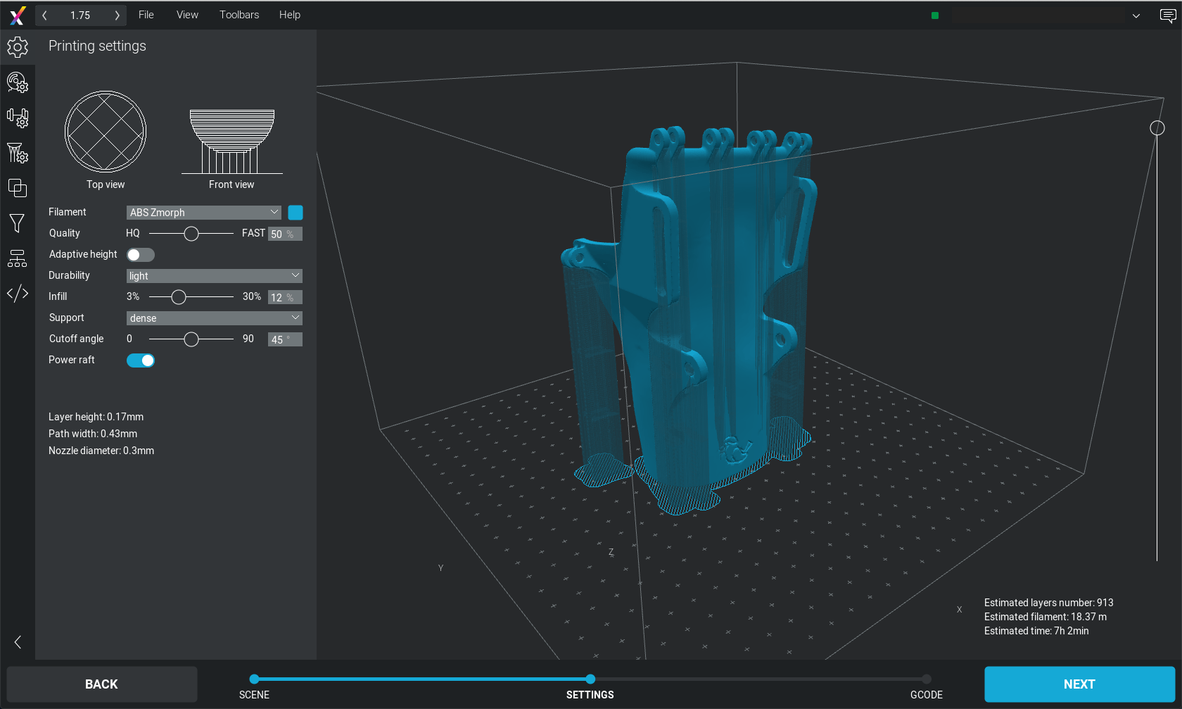 3D printing rehabilitation orthosis - Voxelizer screenshot.