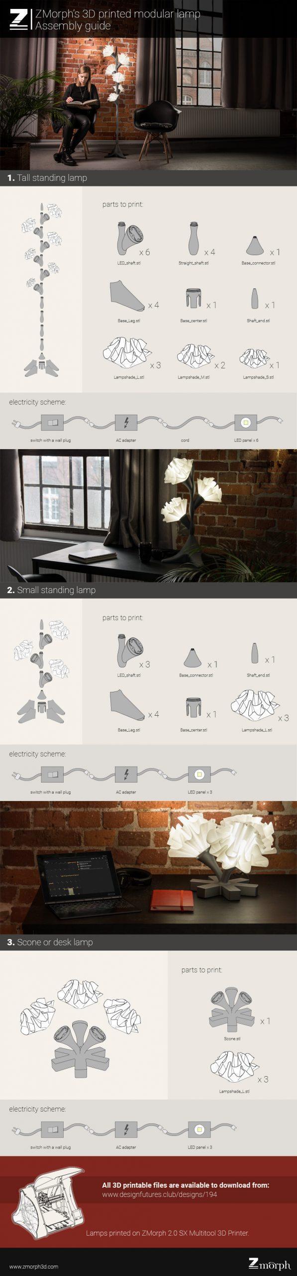 3d printed flower lamp