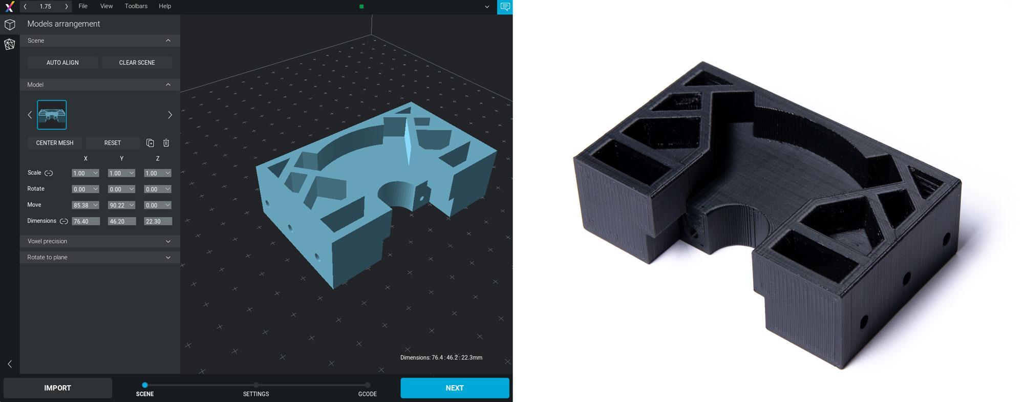 3D render and printed model