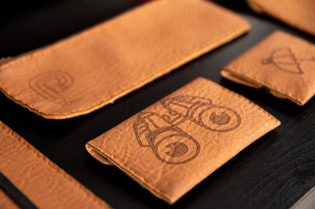 Leather case laser engraved with ZMorph VX