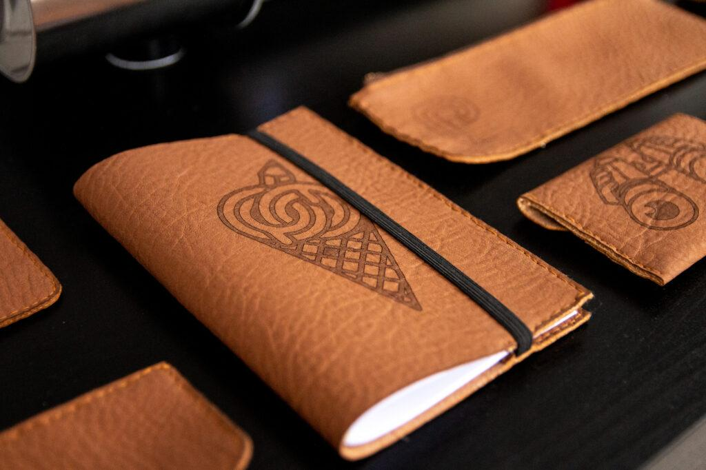 Leather notepad laser engraved with ZMorph VX