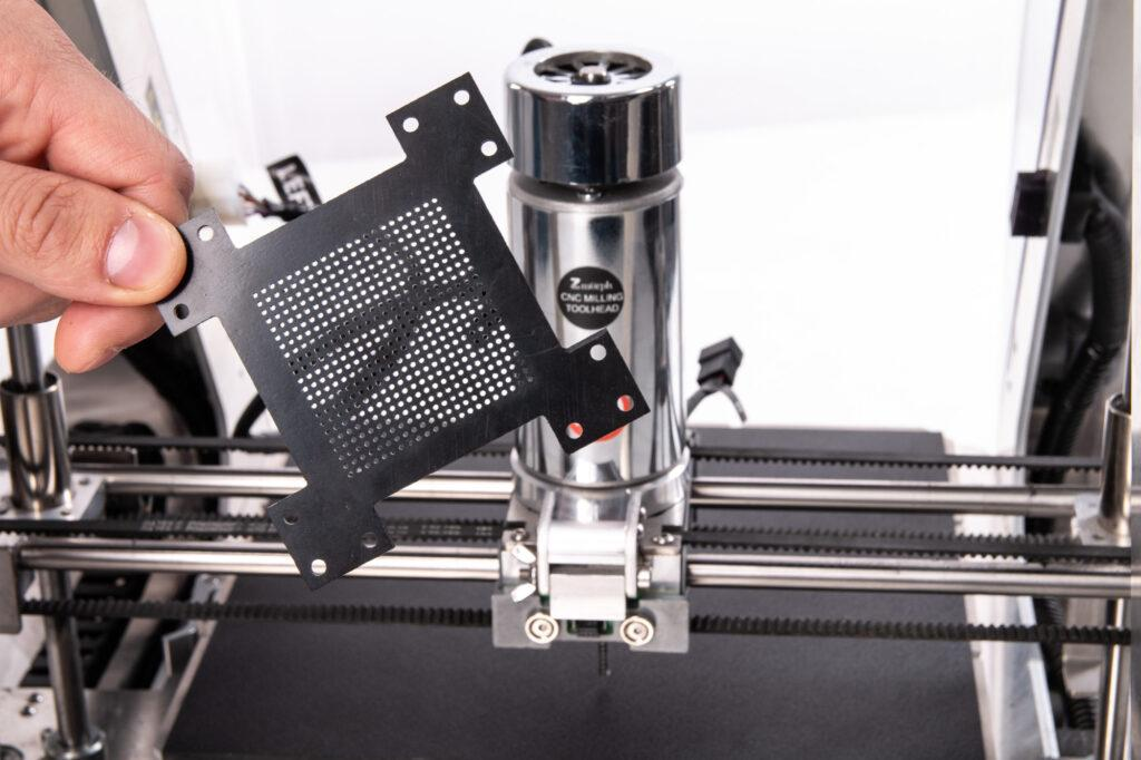 ZMorph VX with CNC PRO milling toolhead attached and ABS sample.