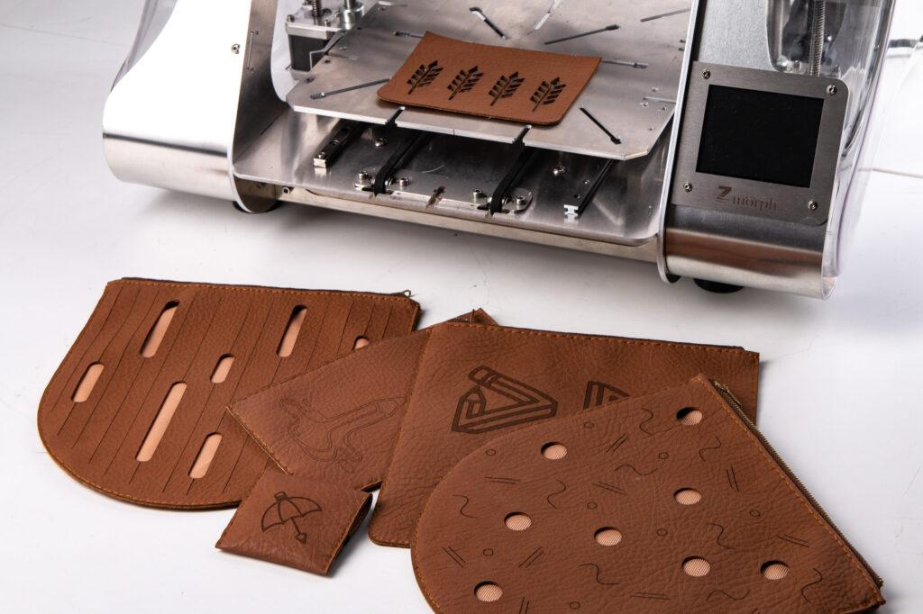 Leather goods laser cut and engraved with ZMorph VX Multitool 3D Printer