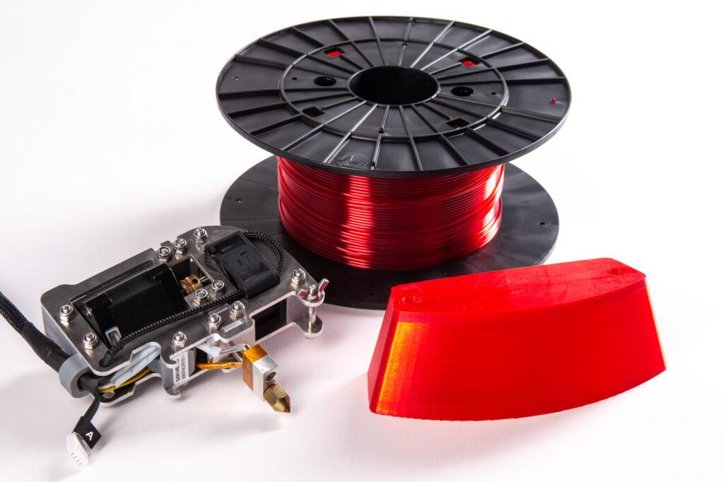 ZMorph 1.75 Plastic Extruder, PET-G filament spool and 3D printed motorcycle lamp.