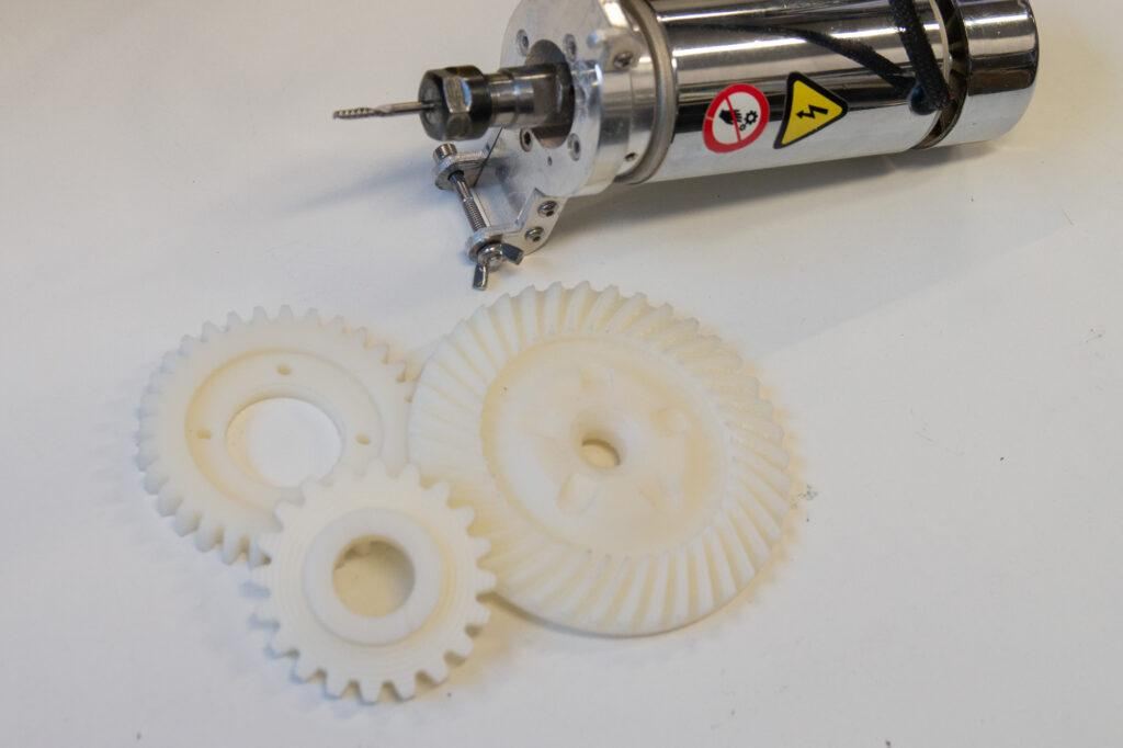 CNC milled nylon cogwheels and ZMorph CNC PRO milling toolhead