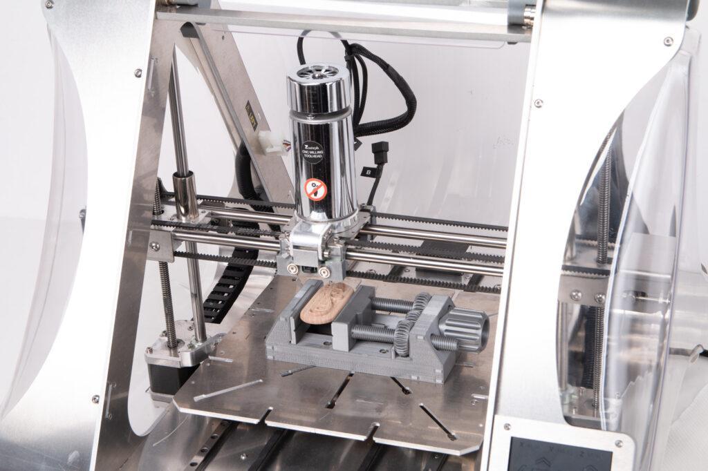 CNC milled wood sample and ZMorph VX Multitool 3D Printer