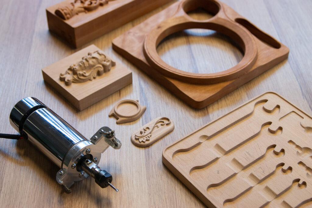 CNC PRO toolhead, cnc milled wood samples