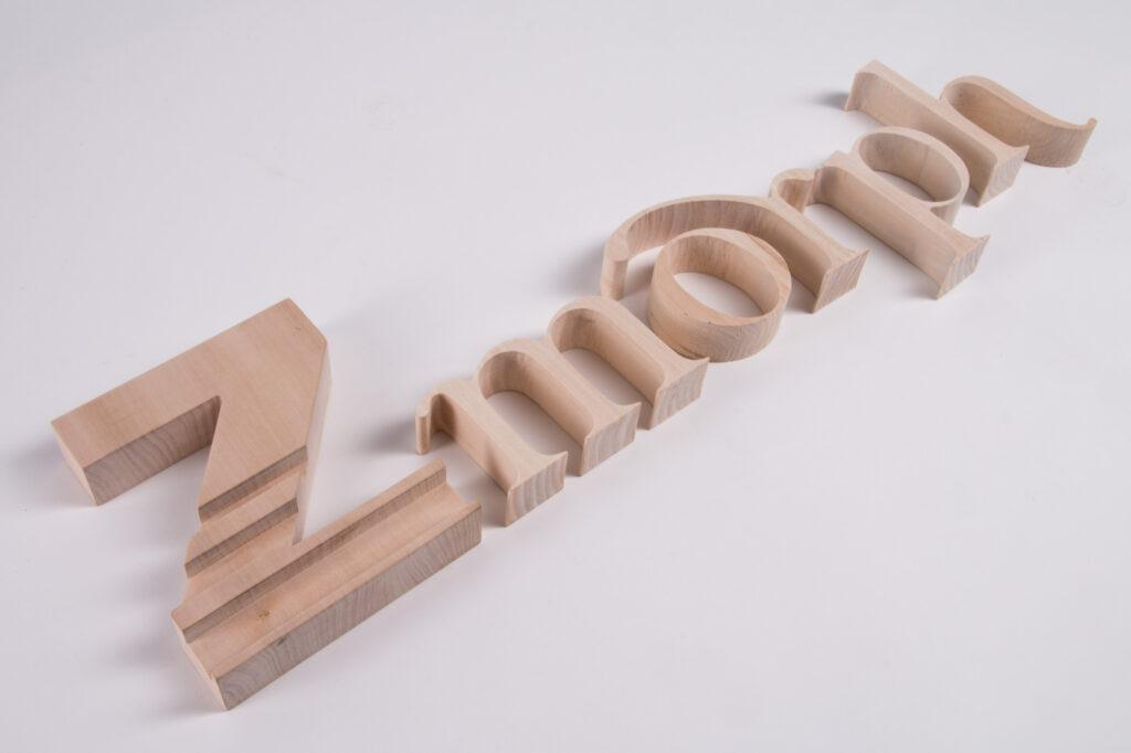 ZMorph logo CNC milled in wood.