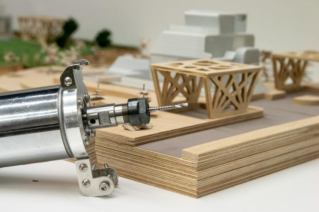 CNC PRO Milling Toolhead and plywood sample