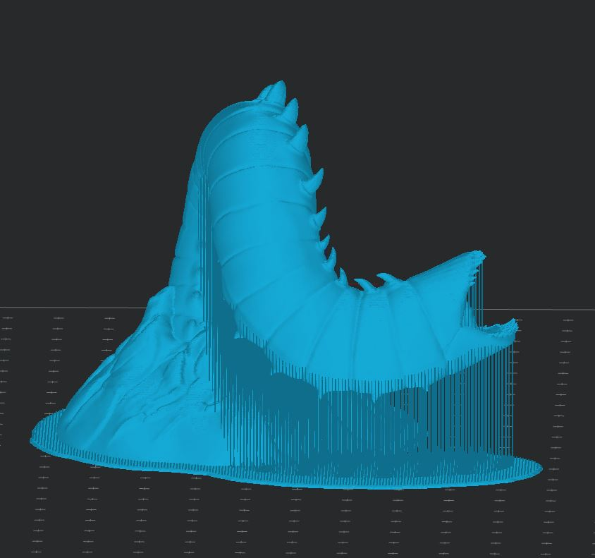 Guide to Voxelizer supports: dense support. Purple Worm by Fotis Mint.