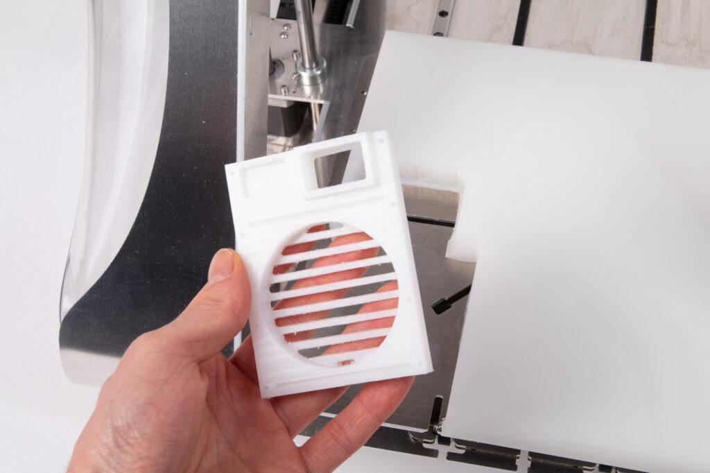 HDPE sample CNC milled on ZMorph VX.