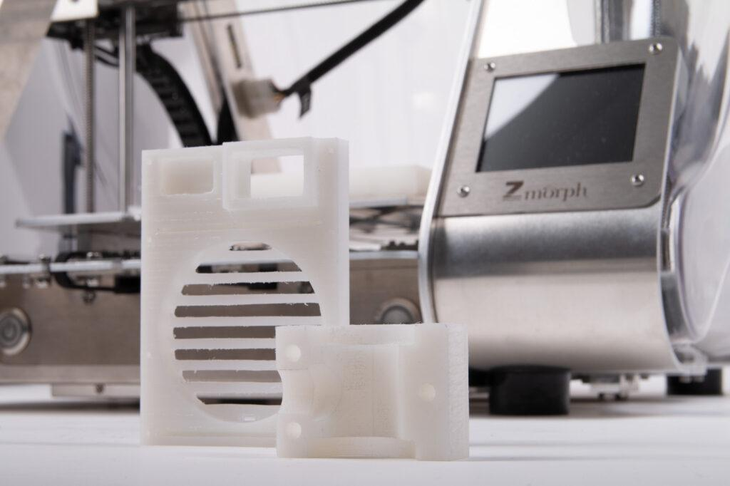 CNC milled HDPE samples and ZMorph VX All-In-One 3D Printer.