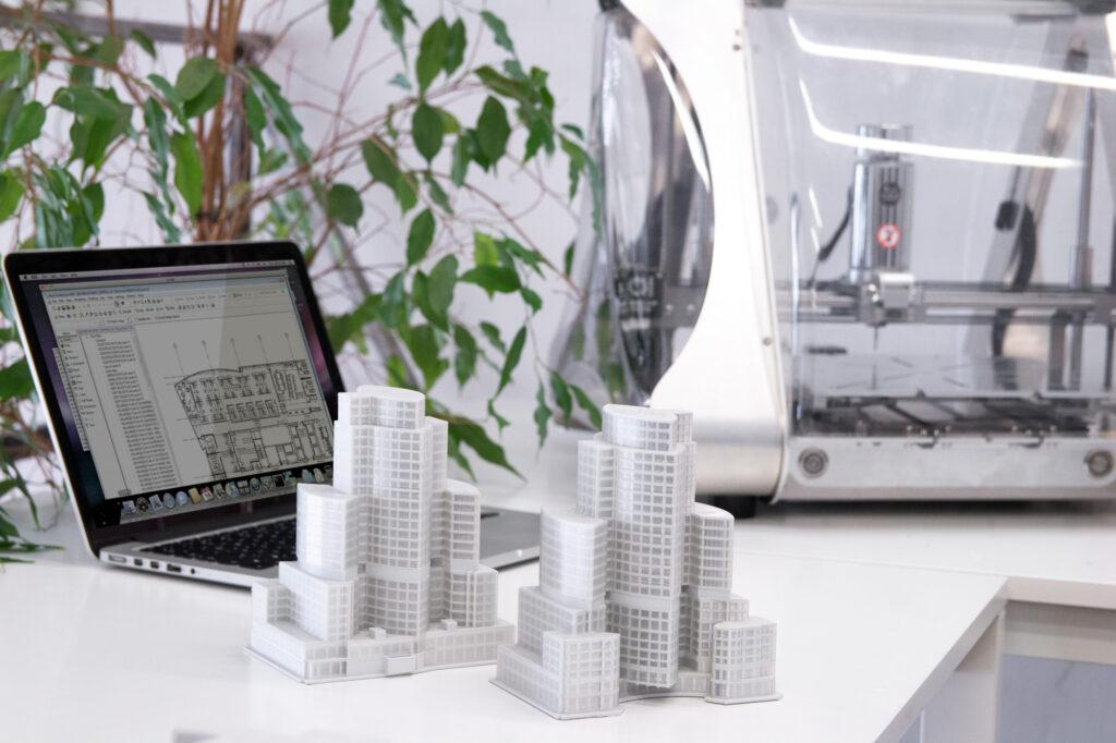 Scaled architecture 3D printed models.