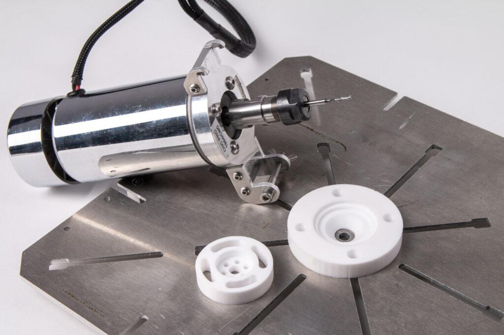 ZMorph CNC PRO Milling Toolhead and CNC machined PTFE samples.