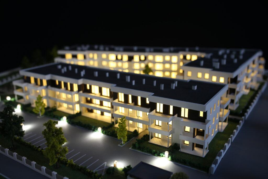 Housing estate model 3D printed on ZMorph Multitool 3D Printer.