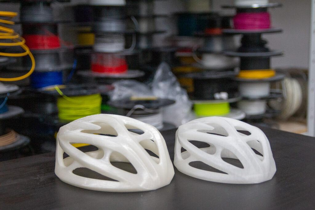 3D printed bike helmets.