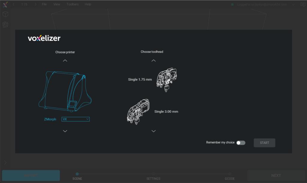 Voxelizer. Choosing toolhead screen.