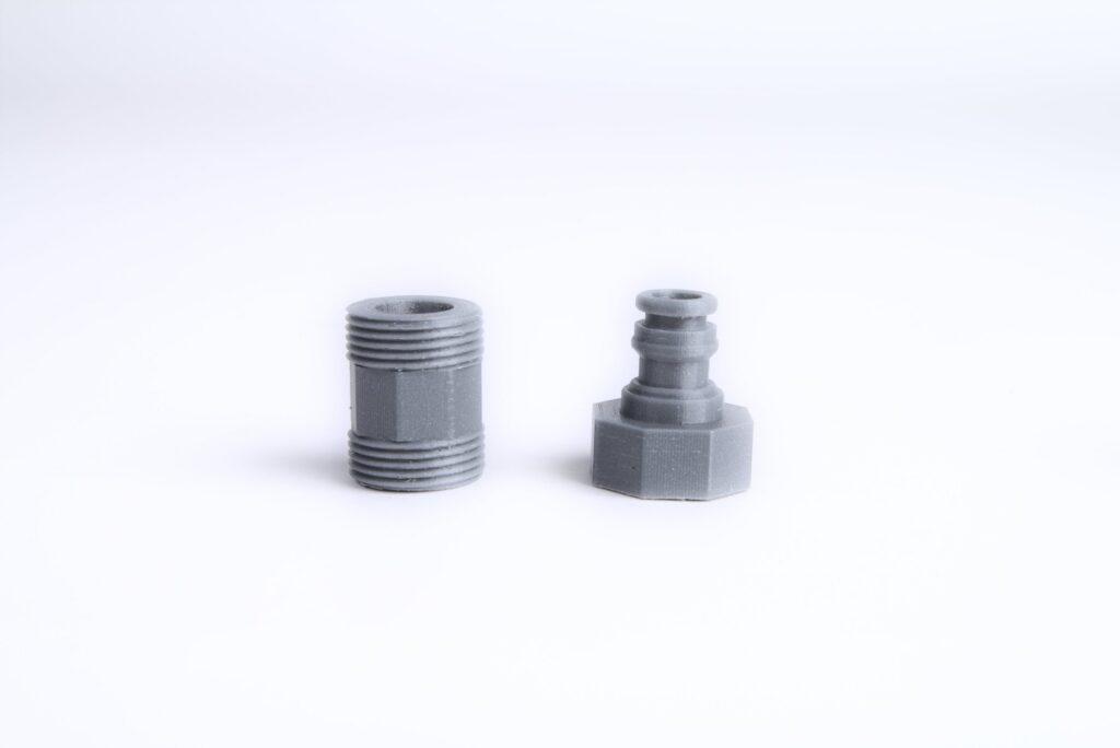 3D printed PETG garden hose connectors.